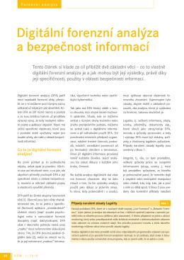 Digitální forenzní analýza a bezpečnost informací