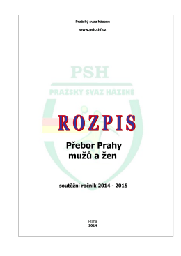 Rozpis přeboru Prahy muži a ženy 2014/2015