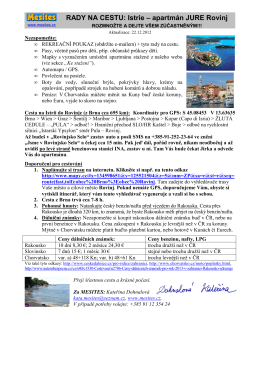RADY NA CESTU: Istrie – apartmán JURE Rovinj