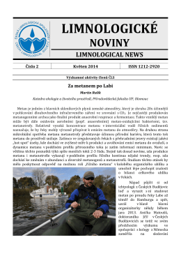 Limnologické noviny č. 2/2014 - Česká limnologická společnost