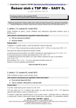 Řešení úloh z TSP MU – SADY S2 - Kurzy