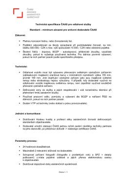 Technická specifikace ČAAS pro odtahové služby Standard