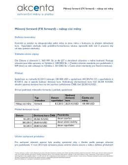 Měnový forward (FX forward) – nákup cizí měny
