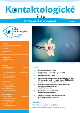 Kontaktologické listy 4/2014 - Česká kontaktologická společnost
