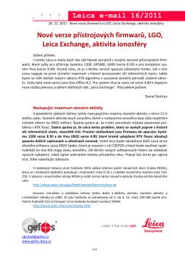 Aktivita ionosféry, nové verze firmwarů a LGO, Leica