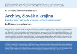 Pozvánka na konferenci - Česká archivní společnost
