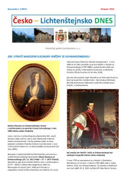 200. výročí narození eleonory kněžny ze schwarzenbergu