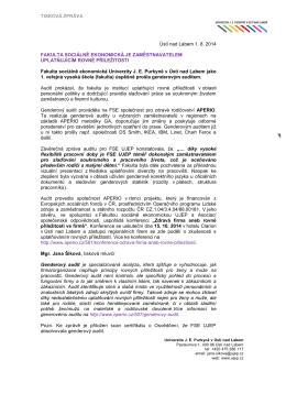 TISKOVÁ ZPRÁVA Ústí nad Labem 1. 8. 2014 FAKULTA