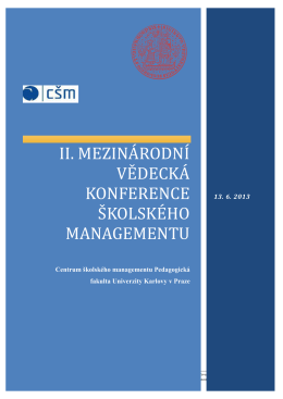 II. mezinárodní vědecká Konference školského - Csm