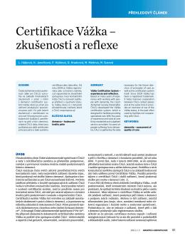 Certifikace Vážka - Centrum pro studium dlouhověkosti a