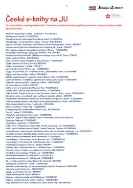 českých e-knih přístupných na JU