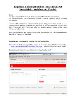 Registrace a nastavení účtů do Vodafone OneNet Samoobsluhy