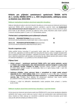 Kritéria pro přijímání zaměstnanců společnosti ŠKODA AUTO do 1
