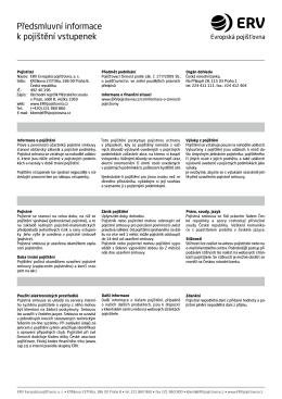 Pojistné podmínky - vstupenky
