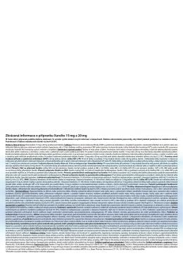Zkrácená informace o přípravku Xarelto 15 mg a 20 mg