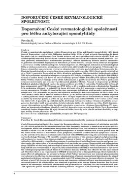 Doporučení České revmatologické společnosti pro léčbu
