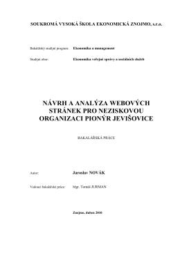 Návrh a analýza webových stránek pro neziskovou