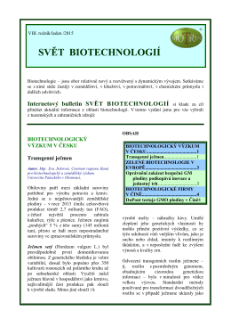 Svět biotechnologií 2015/01