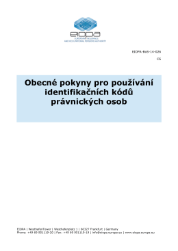 Obecné pokyny pro používání identifikačních kódů - eiopa