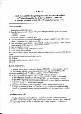 Zápis z XLI. Shromáždění delegátů spotřebního družstva JEDNOTA