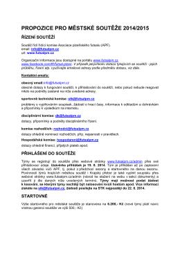 Propozice městských soutěží pro sezonu 2014/2015