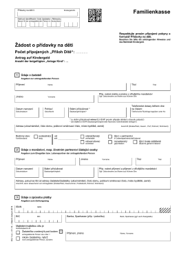 Antrag auf Kindergeld KG1 (Tschechisch)