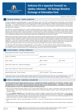 EU Savings Directive Exchange of Information Form