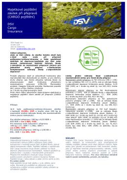 Majetkové pojištění zásilek při přepravě (CARGO pojištění) DSV