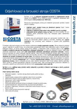 Brousící a ojehlovací stroje COSTA - Sp