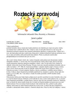 Roztocký zpravodaj - Roztoky u Jilemnice