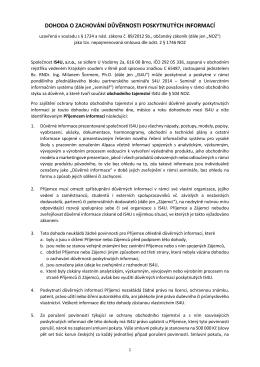 dohoda o zachování důvěrnosti poskytnutých informací