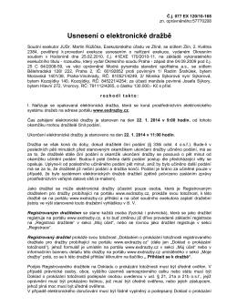Usnesení o elektronické dražbě