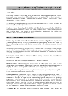 otevřený dopis rodičům členů 1. oddílu skautů oddíl: kým je program