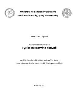 Autoreferat- Trojánek - Fakulta matematiky, fyziky a informatiky