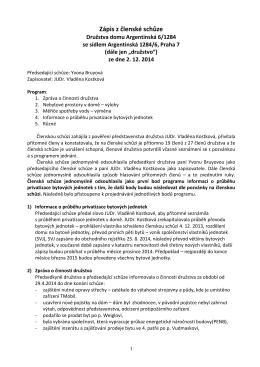 Zápis ze schůze 2.12.2014 - Družstvo domu Argentinská 6/1284