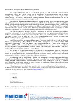 Dopis od Mediclinicku