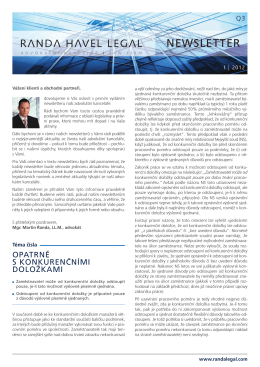 Newsletter ŘANDA HAVEL LEGAL 2012