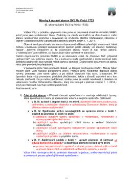 Návrhy k úpravě stanov SVJ Na Vinici 1733
