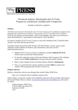 Woodcock-Johnson: Mezinárodní edice II–Česky Program na