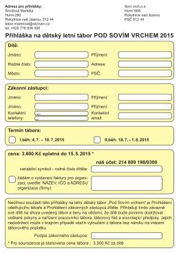 Přihláška 2015 ke stažení