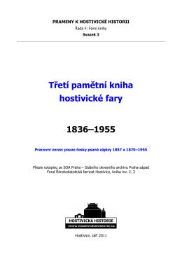 Třetí pamětní kniha hostivické farnosti 1836–1955