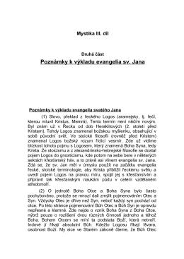 Mystika III. díl, Druhá část, Poznámky k výkladu evangelia