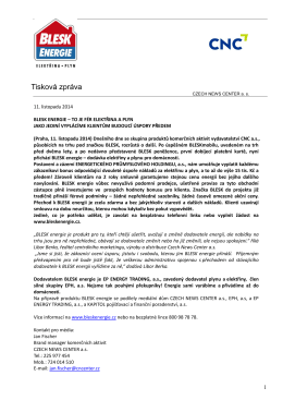 Tisková zpráva - CZECH NEWS CENTER as
