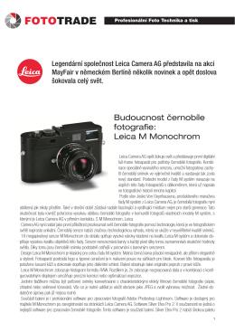 Budoucnost černobíle fotografie: Leica M Monochrom