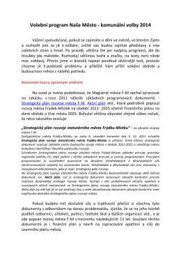 Úplný volební program - Naše město Frýdek