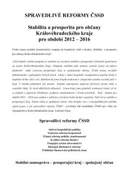 Krajský volební program ČSSD 2012