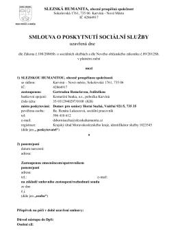 Smlouva o poskytnutí sociální služby - NÁVRH