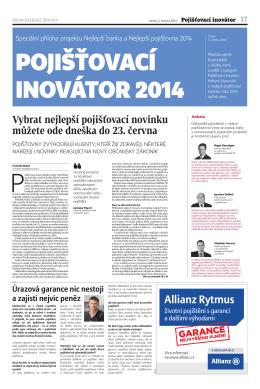Pojišťovací inovátor 2014 - Nejlepší banka a Nejlepší pojišťovna