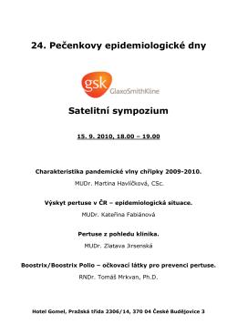 Satelitní sympozium GSK - 26. Pečenkovy epidemiologické dny