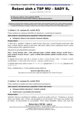 Řešení úloh z TSP MU – SADY S4 - Kurzy